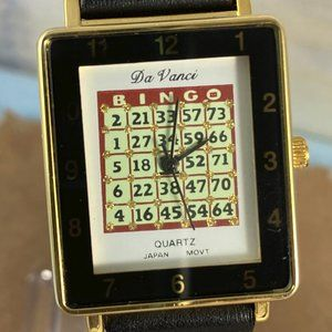 Da Vanci Accessories - Bingo Card Watch by Da Vanci Gold Tone & Leather